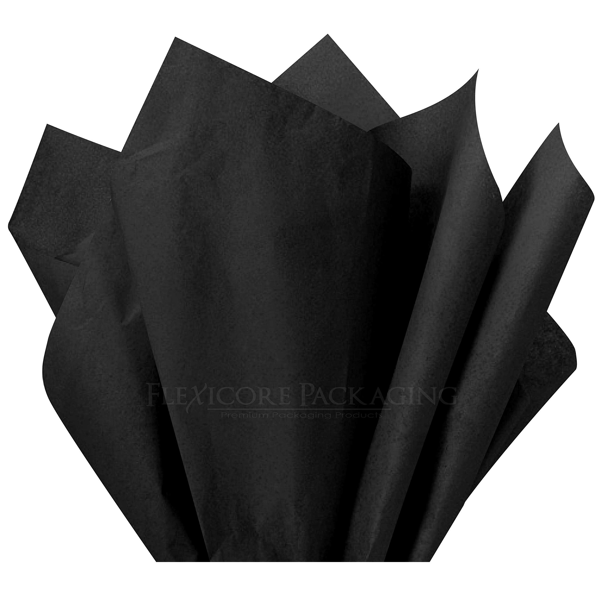 Flexicore Packaging |Black Gift Wrap Tissue Paper | Size: 15 Inch X 20 Inch | Count: 10 Sheets | Color: Black | DIY Craft, Art, Wrapping, Crepe, Decorations, Pom Pom, Packing & Party