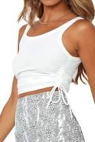 MLEBR Womens Tank Tops Sleeveless Button Down Cami Top Shirt Slim Knit Ribbed Racerback Blouses