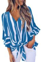 Fixmatti Womens Striped Off Shoulder Tops 3/4 Flare Sleeve Tie Knot Blouses Tops