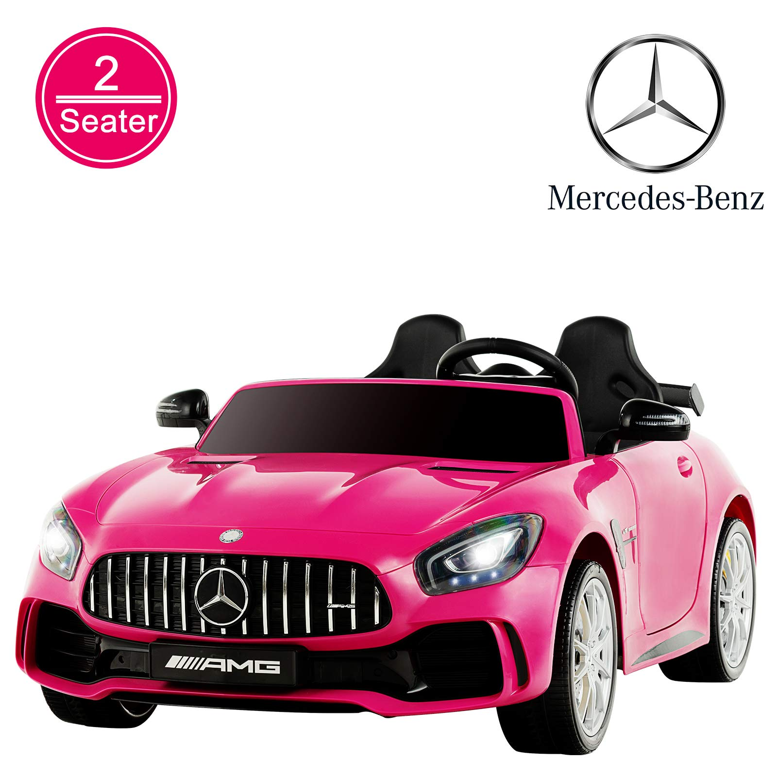Uenjoy 2 Seater 12V Electric Kids Ride On Car Mercedes Benz AMG GTR Motorized Vehicles with Remote Control, Battery Powered, LED Lights, Wheels Suspension, Music, Horn,Compatible with Mercedes, Pink