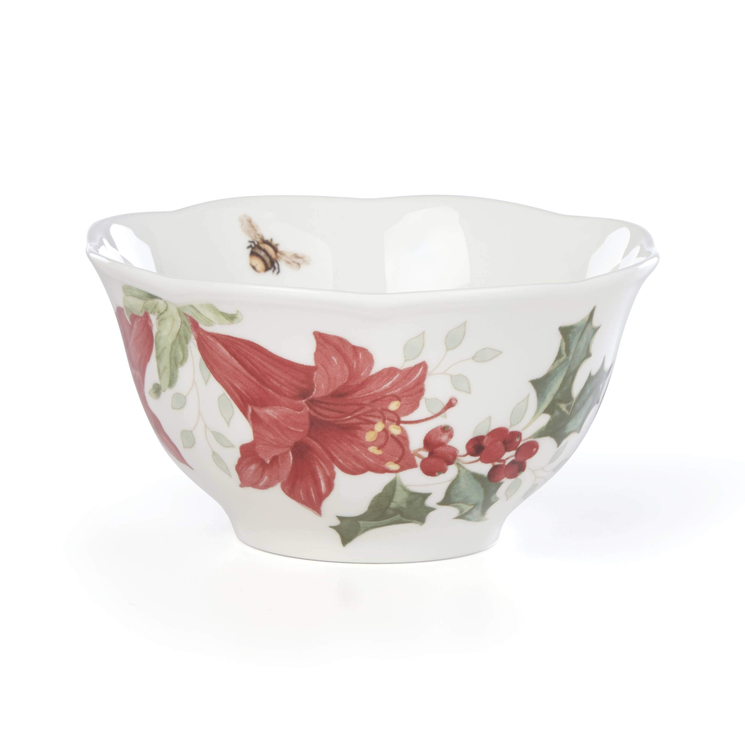Lenox 884607 Butterfly Meadow Holiday Amaryllis Rice Bowl