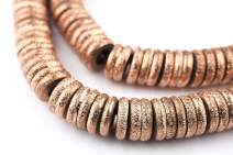 10mm Copper Donut Beads - Full Strand of Ethnic Ring Metal Disk Beads - The Bead Chest
