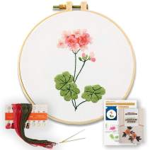 Akacraft DIY Embroidery Starter Kit, Cotton Fibric with Stamped Pattern, 6 inch Plastic Embroidery Hoop, Color Threads, and Needles, Chinese Traditional Flowers Series-Geranium