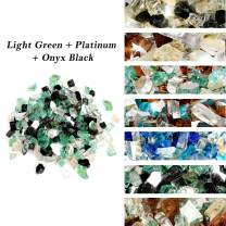 Skyflame 10-Pound Blended Fire Glass for Fire Pit Fireplace Landscaping - 1/4 Inch Reflective Tempered Fireglass Onyx Black, Platinum, Light Green