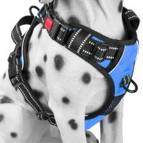 PoyPet No Pull Dog Harness, No Choke Front Lead Dog Reflective Harness, Adjustable Soft Padded Pet Vest with Easy Control Handle for Small to Large Dogs(Blue,XL)