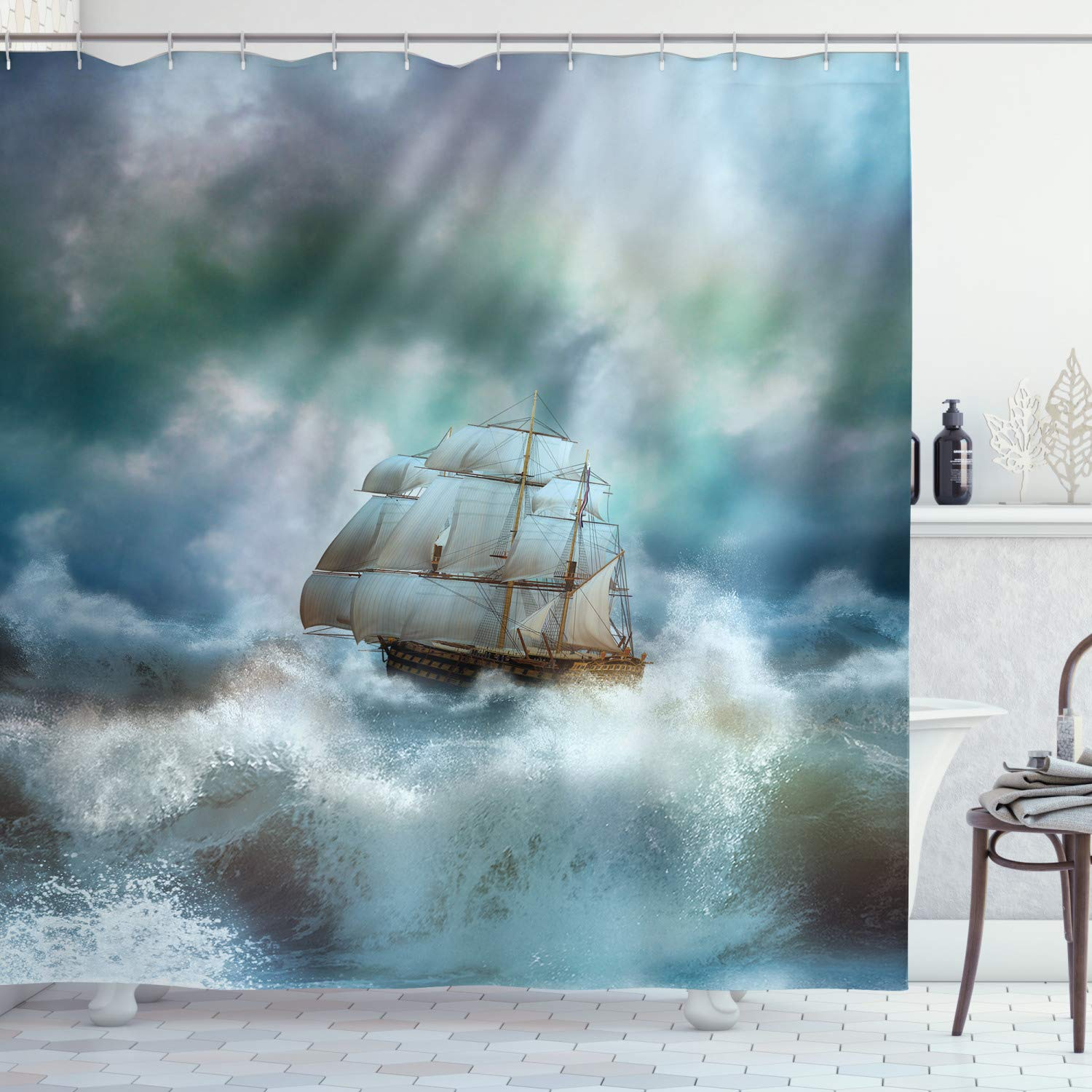 """Ambesonne Ocean Shower Curtain, Majestic Nautical Sealife and Pirate Boat Ship on a Wavy Deep Sea Art Print, Cloth Fabric Bathroom Decor Set with Hooks, 84"""" Long Extra, Blue Grey"""
