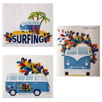 Mixed Hippie Bus Set of 3 Cloths (one of Each Design) Swedish Dishcloths   ECO Friendly Absorbent Cleaning Cloth   Reusable Cleaning Wipes