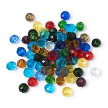 Craftdady 200Pcs 10mm Faceted Briollete Rondelle Glass Beads Crystal Spacer Loose Spacers Random Mixed Colors for Jewelry Making Hole: 1mm