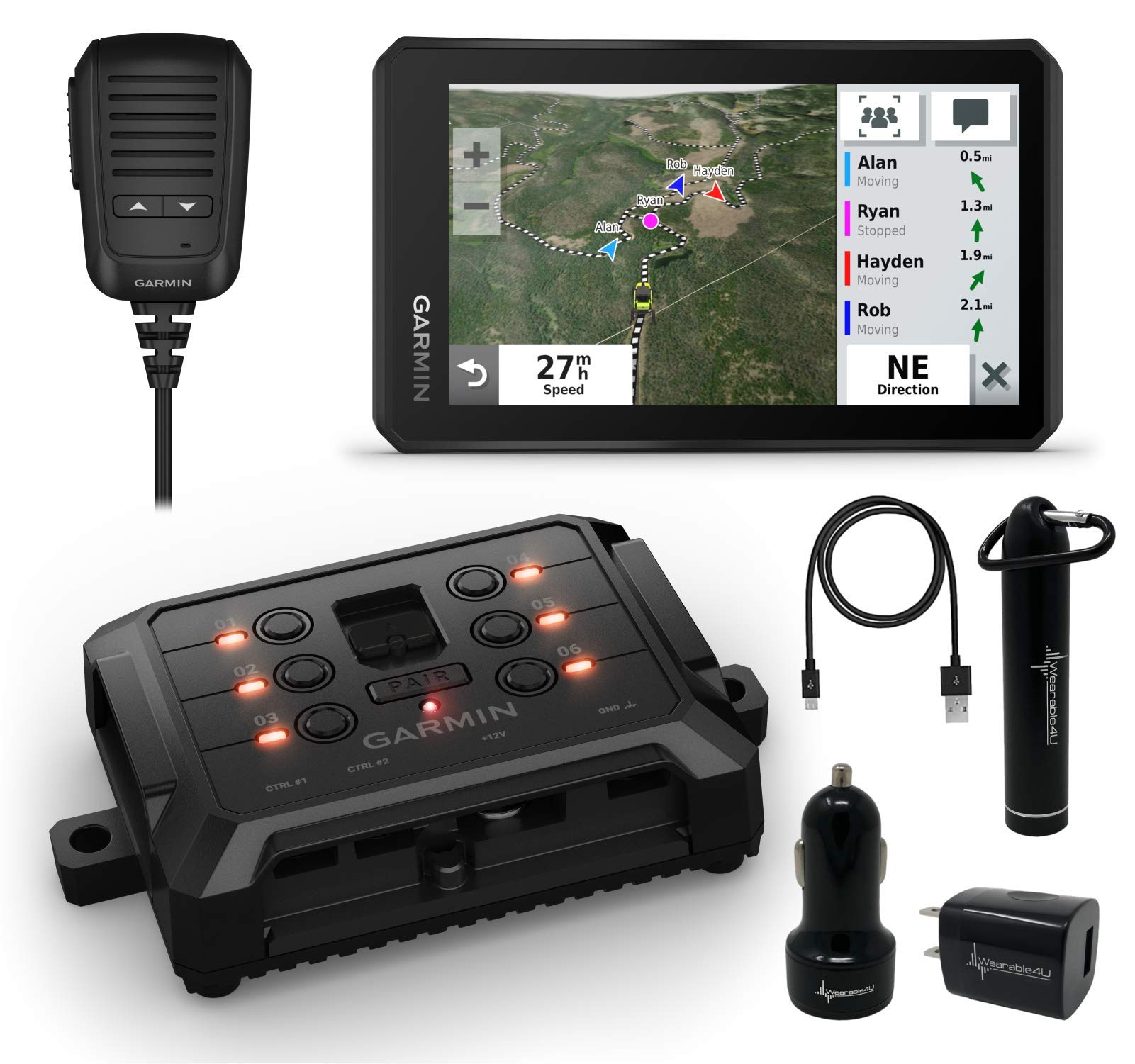 Garmin Tread Powersport Offroad Navigator with Group Ride Radio with Garmin PowerSwitch Digital Switch Box and Wearable4U Power Pack Bundle