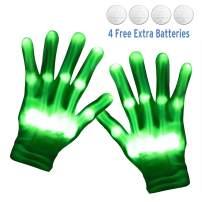 Amazer LED Gloves Light Up Flashing Finger Lights Gloves for Adult, Skeleton Gloves Toys Gifts for Halloween Christmas Party and Light Show-Green Light