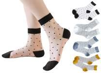 4 Pairs Womens Transparent Socks Ultrathin Sheer Ankle Socks Polka Dots Patterned