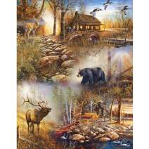 UPMALL DIY 5D Diamond Painting by Number Kits, Full Drill Crystal Rhinestone Embroidery Pictures Arts Craft for Home Wall Decoration Deer & Bear 11.8×15.7Inches
