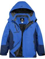 GEMYSE Boy's Waterproof Ski Snow Jacket Fleece Windproof Winter Jacket with Hood