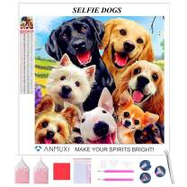 ANMUXI 5D Diamond Painting Kits Full Square Drills for Adults 30X30CM Puppy Selfie Dogs Animals Paint with Diamonds Art for Stress-Relief & Home Decor