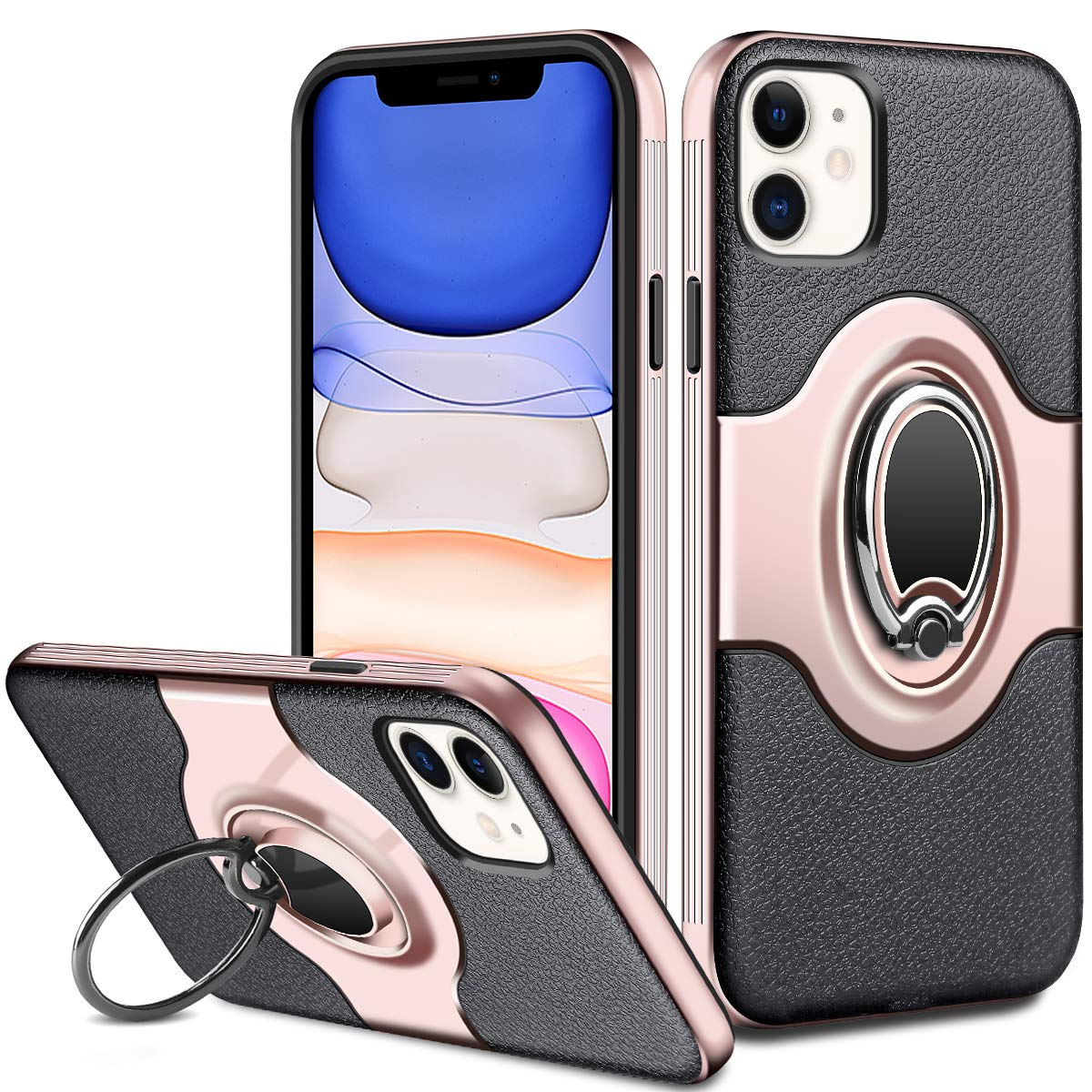 ELOVEN Case for iPhone 11 Case with Ring Holder 360 Degree Rotation Stand Work with Car Mount Ultra Slim Fit Soft TPU Shockproof Non-Slip Hybrid Dual Layer Protective Case for iPhone 11, Rose Gold