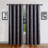 """Warm Home Designs 1 Panel of Extra Long Charcoal 54"""" (Width) by 108"""" (Length) Textured Blackout Curtains with Damask Flower Pattern. Insulated Drapes Allow Privacy & Reduce Noise. EV Charcoal 54x108"""