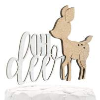 NANASUKO Baby Shower Cake Topper - oh deer - Double Sided Silver Glitter with Champagne Doe - Premium Quality Made in USA