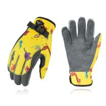 Vgo... Age 6-7 Kids Microfiber Light Duty Work Gloves, Garden Gloves, Washable (Size L, Yellow, MF7466)