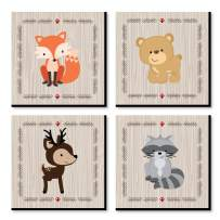 Big Dot of Happiness Woodland Creatures - Kids Room, Nursery Decor and Home Decor - 11 x 11 inches Nursery Wall Art - Set of 4 Prints for Baby's Room