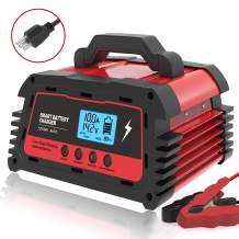 ATian Car Battery Charger 12V/20A 24V/10A Smart Fully Automatic Battery Maintainer Auto-Volt Detection with LDC Display for Car Motorcycle Lawn Mower VRLA SLA AGM GEM WET Lead Acid Batteries (Red)…