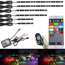 NBWDY 6Pcs Motorcycle LED Light Kit Strips Multi-Color Accent Glow Neon Ground Effect Atmosphere Lights Lamp with Bluetooth RGB Controller for motorcycle,ATV,golf Car (Pack of 6)
