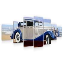 Startonight Large Canvas Wall Art Retro - Classic Blue Car - Huge Framed Modern Set of 7 Panels 40 x 95 Inches