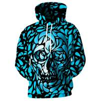 YUNCLOS Unisex Men's Realistic 3D Printed Skull Halloween Hoodie Sweatshirts Funny Pullover with Pocket