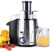 Hilax Centrifugal Juicer 700W Power with LED Light, Extractor Press Juicer Machine 3 Inch Wide Mouth 2-SPEED, One Button Easy Clean Stainless Steel Juicer Blender for Vegetables and Fruits, Silver