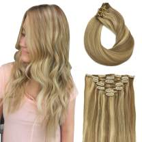 Doores 16 Inch Clip in Hair Extensions Ombre Light Blonde Highlighted Golden Blonde Remy Human Hair Extensions Clip in Straight Thick 120g 7pcs Real Natural Hair Extensions