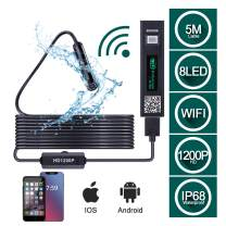 HUTACT 5M Semi-Rigid Wireless Inspection Camera, 1200P HD WiFi Borescope 2.0 Megapixels, 8 Adjustable LED Portable Snake Waterproof Inspection Endoscope Camera System for iOS, Android Phones