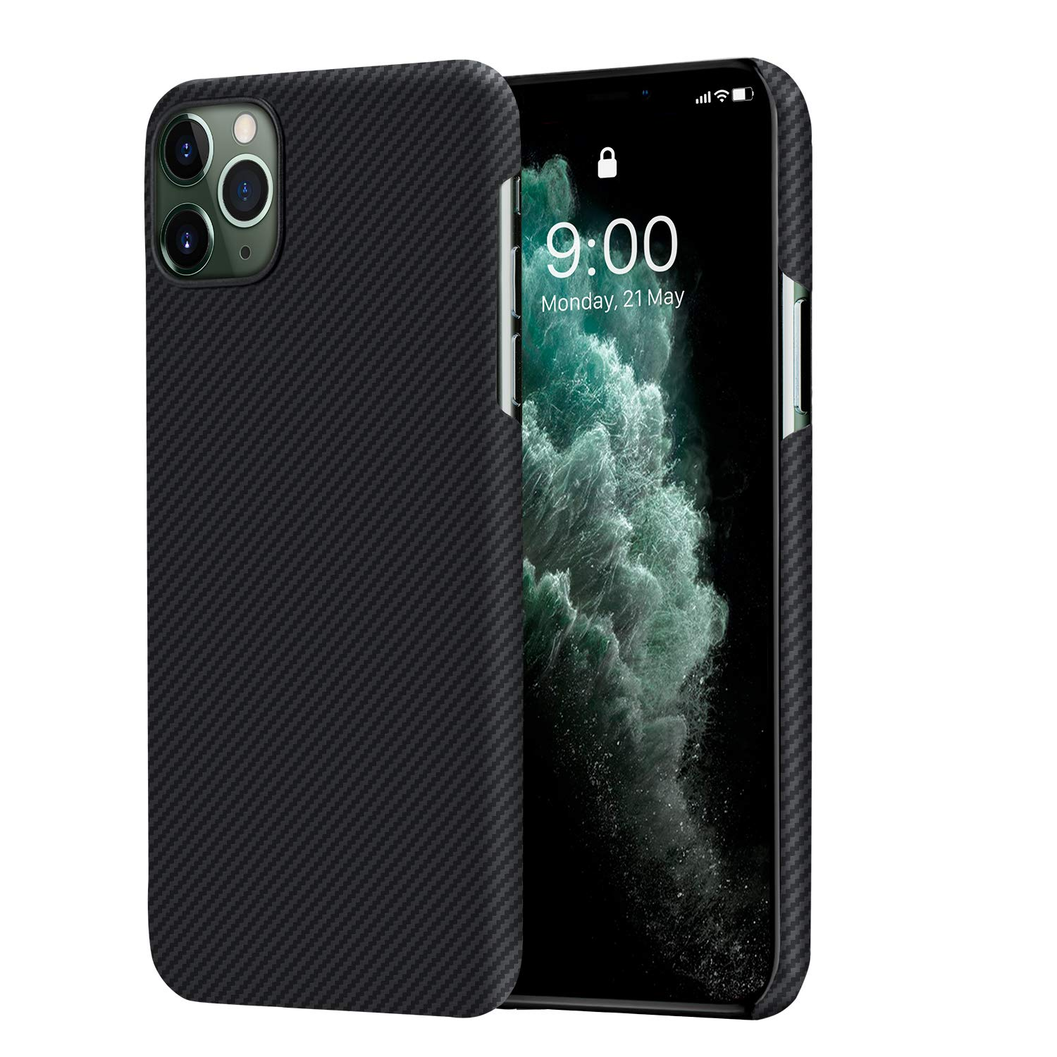 PITAKA Ultra Slim Case Compatible with iPhone 11 Pro 5.8'' Air Case Selected 600D Premium Aramid Fiber Ultra Thin Ultra Light Skin Carbon Style Minimalist Simple Design Cover