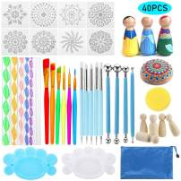 Souarts 40Pcs Mandala Dotting Tools Dotting Tools for Painting Mandalas DIY Dotting Painting Tools Clay Sculpting Art Painting Tools Set for Clay Pottery Craft Art Drawing