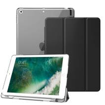 Fintie Case with Built-in Pencil Holder for iPad 9.7 Inch 2018 - Lightweight Slim Shell Cover with Translucent Frosted Back Protector Supports Auto Wake/Sleep for iPad 6th Generation, Black
