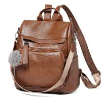 Backpack Purse for Women, VASCHY Anti Theft Water Resistant Faux Leather Backpack with Fashion Tassel