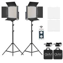 GVM Video Panel Light,Professional Bi-Color LED Video Lighting Kit with APP Control and Light Stand,65W Dimmable Camera Video Light for Studio,YouTube,Product Photography,Video Shooting (2Pack)