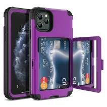 iPhone 11 Pro Max Wallet Case, WeLoveCase Defender Wallet Card Holder Cover with Hidden Mirror Three Layer Shockproof Heavy Duty Protection All-round Armor Protective Case for iPhone 11 Pro Max Purple