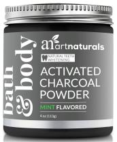 ArtNaturals Teeth Whitening Activated Charcoal Powder - (4 Oz / 113g) Coconut Charcoal Natural toothpaste whitener, Non-Abrassive Whitening - Fluoride Free - Stain Remover - Mint Flavored