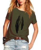 Romastory Womens Street Style Feather Pattern T-Shirts Casual Loose Top Tee Shirts