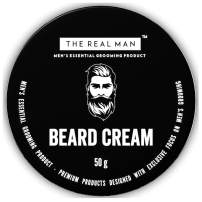 THE REAL MAN Moisturizing Beard Cream 50g. with Extract of Aleo Vera & Virgin Coconut Oil. (Pack of 1)