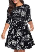 Nemidor Women's 3/4 Sleeve Embroidery Party Dress Plus Size Vintage Cocktail Swing Dress NEM216