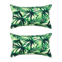 PICCOCASA Pack of 2,Green Leaves Throw Pillow Cover,Pattern Cushion Cover Cotton Plant Pillow Case Square Pillow Protectors Home Decorative for Sofa/Couch/Bed/Car(12 x 20 Inch/30 x 50cm, 4)