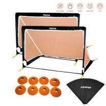 Poray Soccer Goal for Kid Easy-up Set of Two Portable 4FT Soccer Net 210D Oxford with 8 Field Marker Cones Extra Stakes Fun for Backyard and Soccer Training (Orange 4Ft Square Soccer Goal Sets)