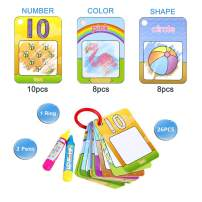 Coolplay Drawing Toddler Number Cards, Learning Shape and Color, Entertainment Travel Activities Toys for Kids 26pcs Ring Word Cards with Magic Pens for 3 Years Old Boys and Girls