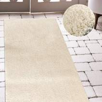 jinchan Plush Doormat Area Rug Fluffy Warm for Nursery Luxe Area Rug Cozy Solid Shag Rug Indoor Soft Mat Modern Floorcover for Living Room Bedroom 2'2'' x 7' Ivory