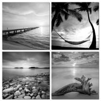 sechars - Black and White Beach Wall Art Seascape Painting Sunrise Scenery Picture Giclee Canvas Print Framed for Living Room Bedroom Bathroom Home Office Wall Decoration