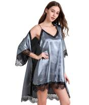 Women's Lace Satin Cami Dress Robe Set Pure Colour V-Neck