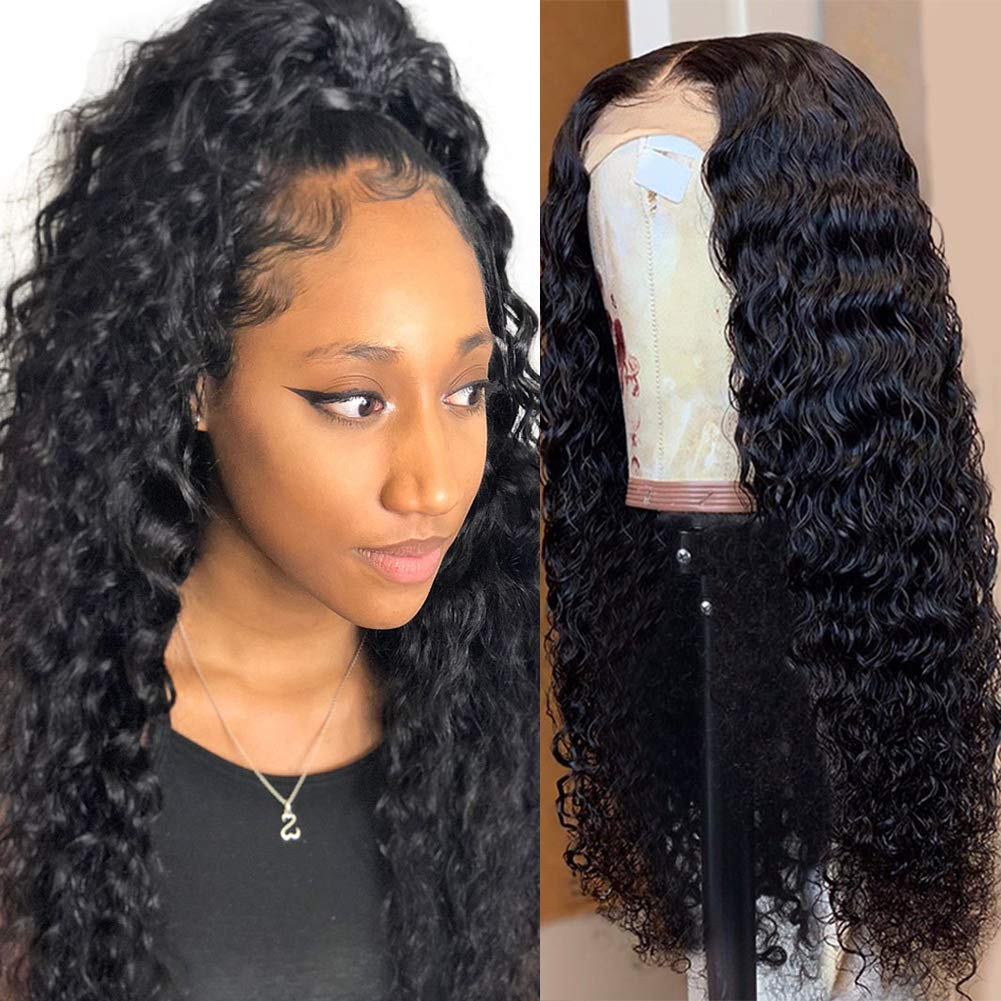 LUMIERE 24inch Deep Wave Lace Front Human Hair Wigs Pre Plucked with Baby Hair 180% Density, Brazilian Virgin Human Hair Deep Curly 13x4 Lace Frontal Wigs for Black Women Natural Black