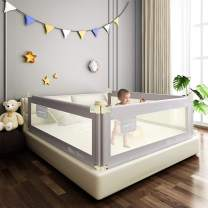 """Mingfuxin Extra Long Safety Bed Rails for Toddlers, Vertical Lifting Foldable Bed Guardrail Crib Bed Rails Guard for Kids Twin, Double, Queen & King Size with Dual Lock- Single Side 70"""""""