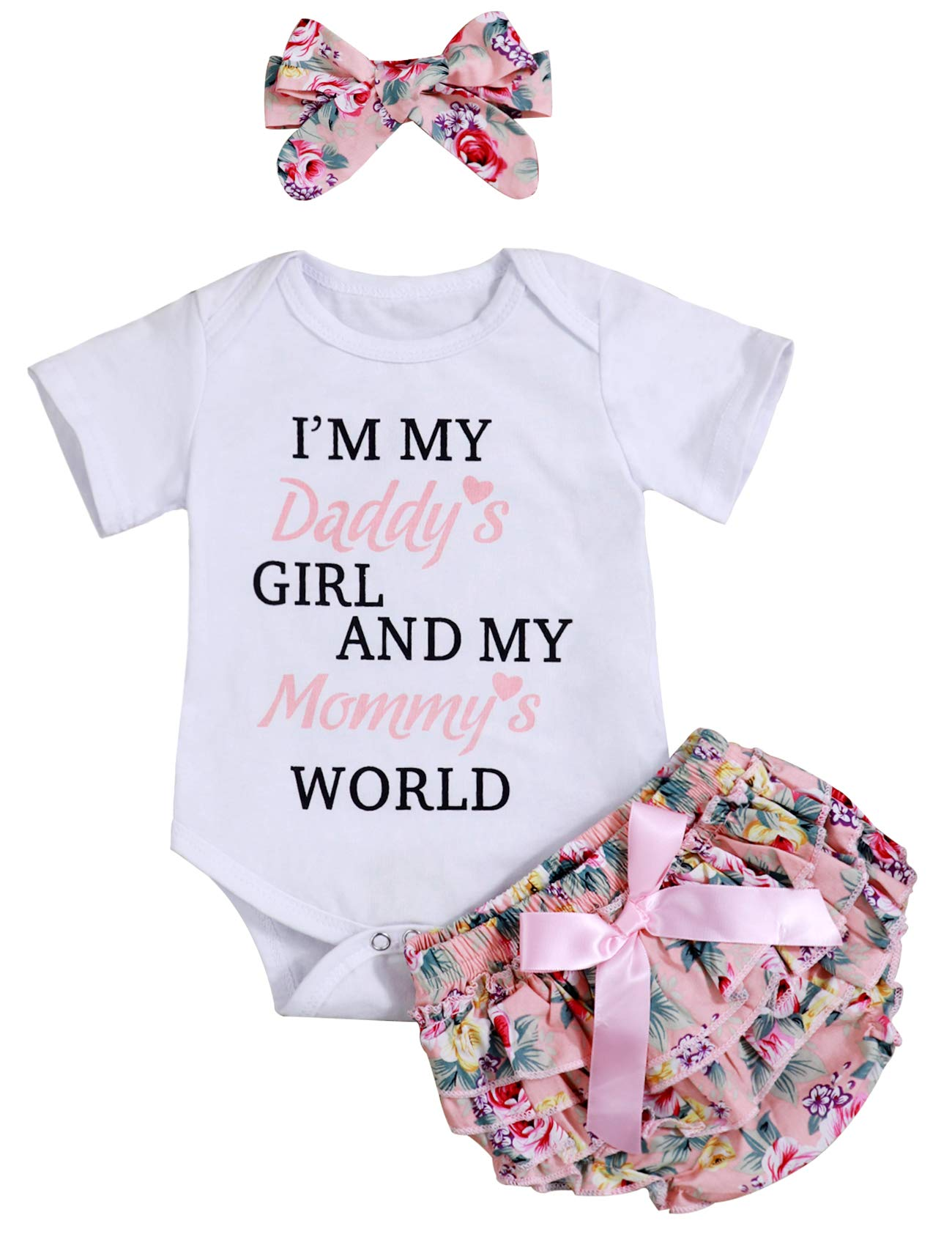 Newborn Baby Girl Summer Clothes Daddys Princess Romper Floral Shorts with Headband Bodysuit Outfit Sets