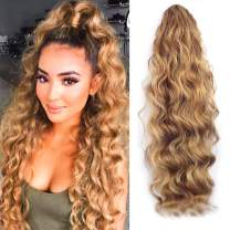 KETHBE 24 Inch Long Body Wave Ponytail hair Extension Synthetic Heat Resistant Wrap Around Drawstring Curly Wavy Ponytail Hairpieces for Women(Brown)